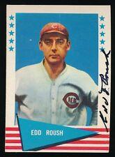 1961 Fleer Autographed -#72 Edd Roush (Cincinnati Reds, Giants) *Hof* (d.1988)