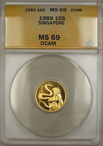 1989 Singapore 10 Singold Gold Coin ANACS MS-69 DCAM