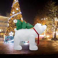 7 Ft Christmas Inflatable Polar Bear With Tree Airblown Lighted Outdoor Decor