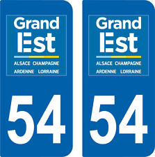 Stickers style immatriculation auto Département Grand-EST MEURTHE ET MOSELLE 54