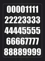 Number sheet sticker vinyl decal car bike door wheelie bin white race