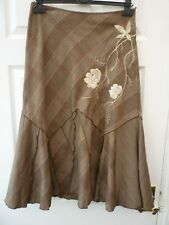 PER UNA Ladies Size 10 Brown Check Floral Embroidered Boho Steampunk Maxi Skirt