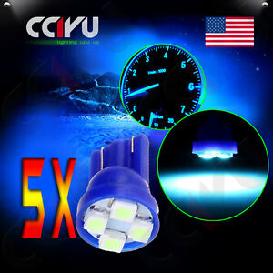 5Pcs Ice Blue 3258 LED 3 Wedge License Plate Light Bulbs T10 194 2825 168 158