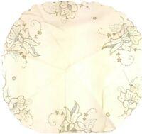 Vintage Table Cloth Beige Embroiderd Doillies Floral Decor Cottage Farmhouse