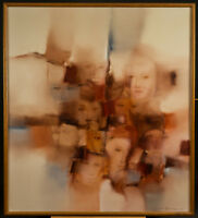"Signed Original Vicente Carneiro Oil Painting ""Faces"" Midcentury Modern 1970's"