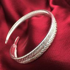 Fashion Women 925 Silver Plated Angel Feather Bangle Cuff Bracelet Jewelry Gifts
