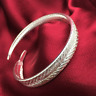 Fashion 925 Silver Plated Women Charm Feather Cuff Open Bracelet Bangle Jewelry