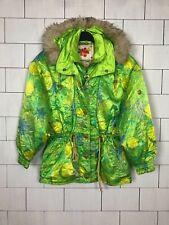 VINTAGE RETRO BRIGHT BOLD SKI STYLE HOODED JACKET COAT WINDBREAKER UK 12/14 #469