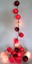 LED LICHTERKETTE COTTON BALLS 20er Stoffbälle BRAUN-rot 3,5 m 2 Watt - NEU