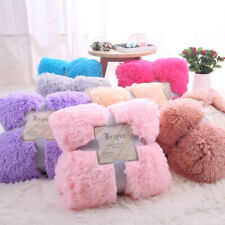 160*200cm Faux Fur Plush Long Pile Shaggy Cover Throw Blanket Bed Sofa Blanket