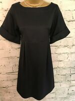Jigsaw Ladies Black Wool Mix Silk Lined Short Sleeve Shift Dress UK 8 EU 36 US 4