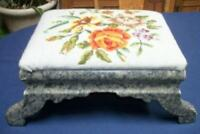 VICTORIAN WALNUT WOOD FOOTSTOOL NEEDLEPOINT FLORAL ROSES FAUX GREEN MARBLE LOOK