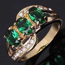Jewelry Size 8 AAA Emerald Gold Filled Engagement Fashion Womens Ring Gift Halo