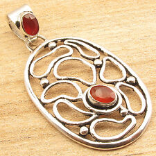 925 Silver Plated MADE IN INDIA Jewelry ! Natural CARNELIAN 2 Stone Pendant 5 cm