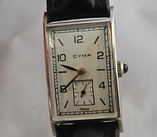 CYMA   TAVANNES    curved  square vintage watch uhr montre stainless steel