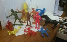 Vintage 3-6 inch Tall Plastic Cowboys, Indians, Baseball, Army Figures