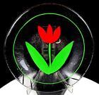 "KOSTA BODA GLASS ULRICA HYDMAN VALLIEN SIGNED STRIPES RED TULIP 7 1/2"" PLATE"
