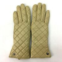 """Michael Kors Womens Gloves, Leather, Quilted Beige 10"""""""