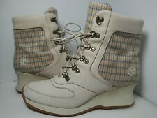 Timberland Ivory Leather Wedge Heel Lace Up Ankle Boots Womens Sz 8 M