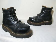 THE ART COMPANY PERSONAL BOOTS BLK LEATHER CAP STEEL TOE HEAVY MUD BOOTS MEN 6