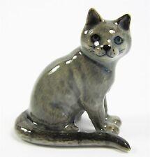 Miniature Porcelain Hand Painted Russian Blue Cat Figurine