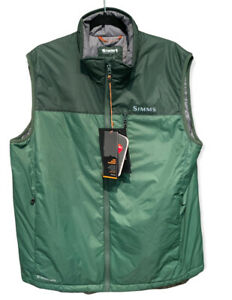 Simms Midstream Insulated Vest Full Zip Green Men's Size Large New NWT Pockets