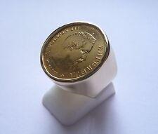 Chevalière Or ronde pièce 10 Franc or Napoléon non lauré avec douille intérieure