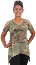 Womens Camo Cold Shoulder Top Lightweight V Neck Military T-Shirt Tunic Army Tee