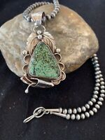 Mens Navajo Green Spiderweb Turquoise Sterling Silver Necklace Pendant Set 814
