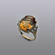 14kt YELLOW Gold Citrine and Diamond Ring // G-VS2