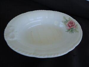 vintage porcelain soap dish pink rose design oval