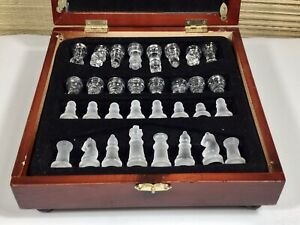 Clear & Frosted Glass Chess Set in Wooden Box Case w/ Mirror Glass Chess Board