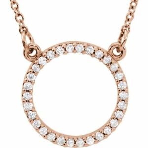 """Diamond 16"""" Necklace In 14K Rose Gold (1/8 CTW)"""