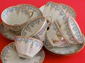 Antique HAVILAND LIMOGES 6 Cup saucer sets Pink Roses Blue Greek Key GOLD