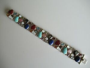 STERLING SILVER & MULTI GEMSTONE BRACELET