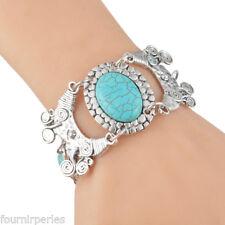 Bracelet Réglable Turquoise Argent Mat Brillant Bijoux Création Cadeau 19cm FP