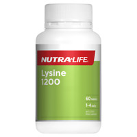 Nutra-Life Lysine 1200 60 Tablets Cold Sores Formula Immune Health NutraLife
