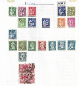 France   - 21 Used Stamps Inc 2 x 25c 1924 Olympic Games and 65c BYRRH du soleil