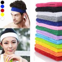 Men Women Cotton Headband Sweatbands Head Band Tennis Gym Sports Yoga Fitness