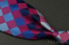 "TURNBULL & ASSER Blue Purple Plaid Check 100% Silk Mens Luxury Tie - 3.50"""
