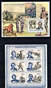 COMORES 2008 DAVID LIVINGSTONE MISSIONERY SLAVERY AFRICA LION ATTACK STAMPS MNH