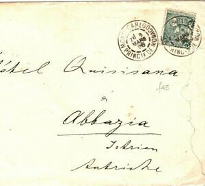MONACO Cover SCARCE 25c GREEN SINGLE FRANKING 1898{samwells-covers}SN30