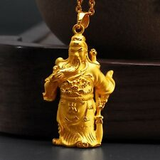 New Pure 24K Yellow Gold Pendant 3D Perfect Dragon Lucky Guan Yu 22*38mm/ 4-4.5g