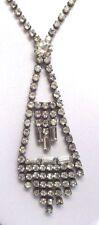 Ancien collier bijou vintage art déco couleur or blanc cristal diamant  46