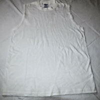 Jerzees Heavyweight Cotton L 14-16 Boys youth sleeveless shirt white NOS
