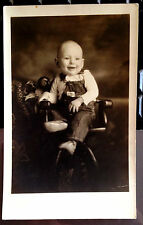 Real Photo AZO Post Card Todler in Bibbed Overhauls OshKosh Advertising c 1900's