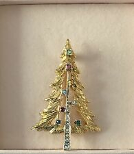 VINTAGE PUCCINI GOLD CHRISTMAS TREE BROOCH WITH AUSTRIAN CRYSTALS