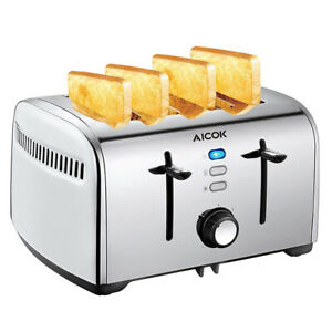Aicok 4 Slice Automatic Toaster Stainless Steel Extra Wide Slots 1700W