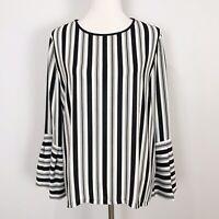 LOFT Women's MEDIUM Black & Ivory Striped POPOVER TOP Bell Sleeves