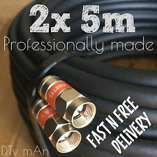 2x 5m Foxtel Approved High Quality Black Rg6 Cable Satellite and Antenna Pay TV